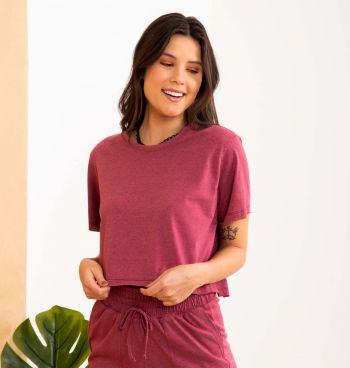 T-shirt Cropped Malha Mesclada A Fio