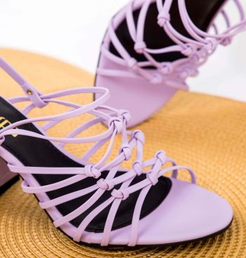 Sandália Tiras Com Salto Croco