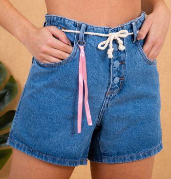 Short Jeans Mom Botões
