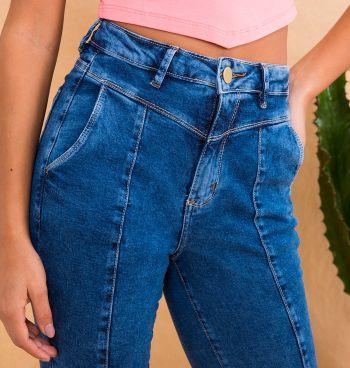 Calça Jeans Skinny Com Recortes