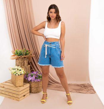 Short Jeans Mom Com Cordão