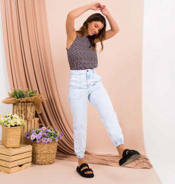 Calça Jeans Jogger Bolso Quadrado