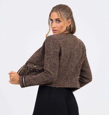 Casaco Tweed Com Bolso