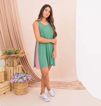 Vestido Recorte Lateral Bicolor