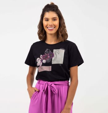 T-SHIRT ESTAMPADA FLAMINGO GOLA REDONDA