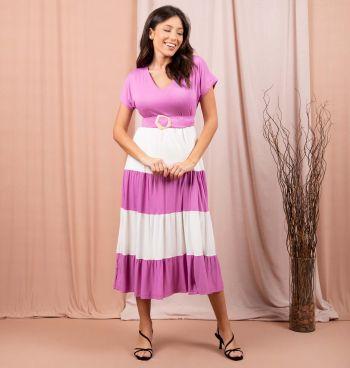 Vestido Midi Bicolor Com Cinto