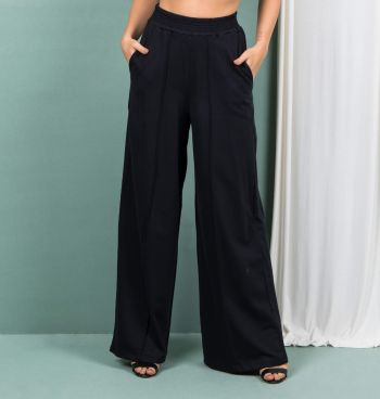Calça Pantalona Com Nervura