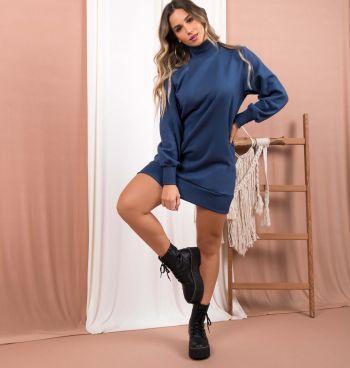 Vestido Moletom Gola Alta + Coturno Tratorado