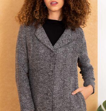 Casaco Lã Estampa Gráfica