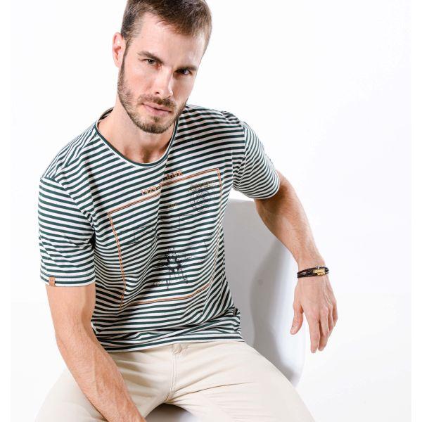 Camiseta Masculina Listrada Biplane