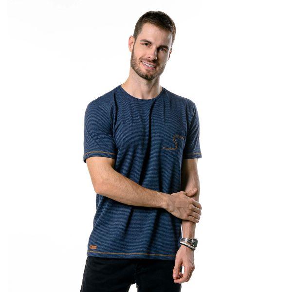 Camiseta Masculina Listrada Denim
