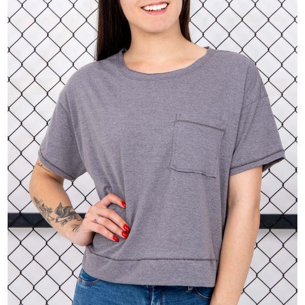 T-Shirt Malha Mesclada Com Bolso