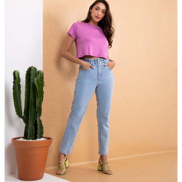 Calça Jeans Mom Com Elástico