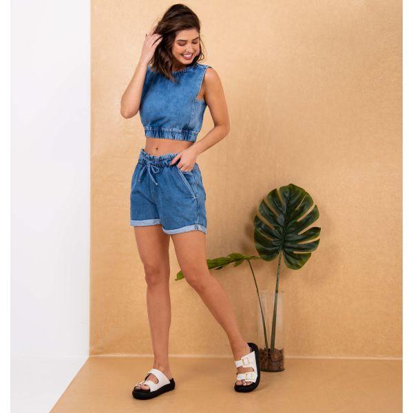 Short Jeans Clochard Com Bolso