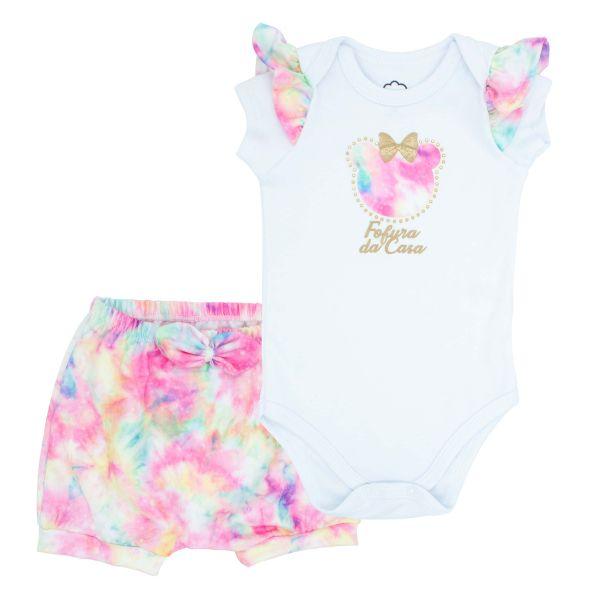 Conjunto Infantil Body e Short Tie Dye