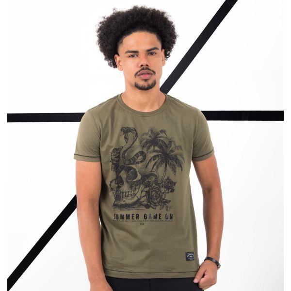 Camiseta Estampada Com Pesponto Contrastante