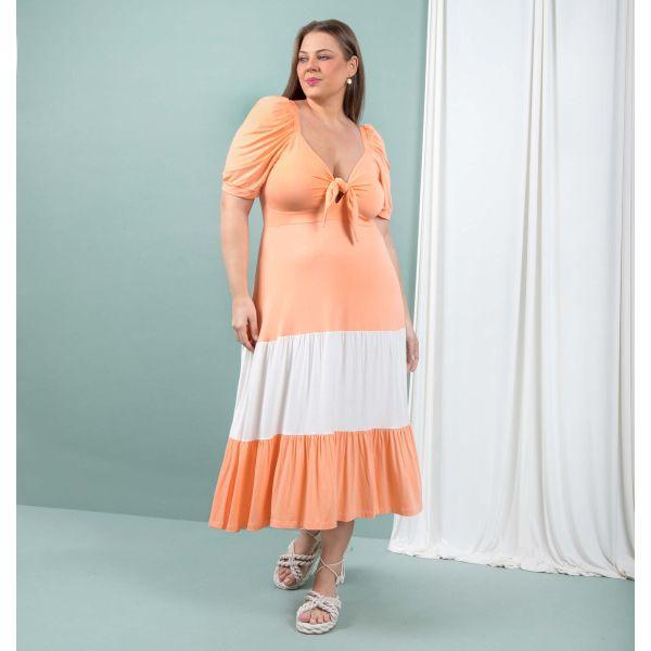 Vestido Manga Bufante Bicolor