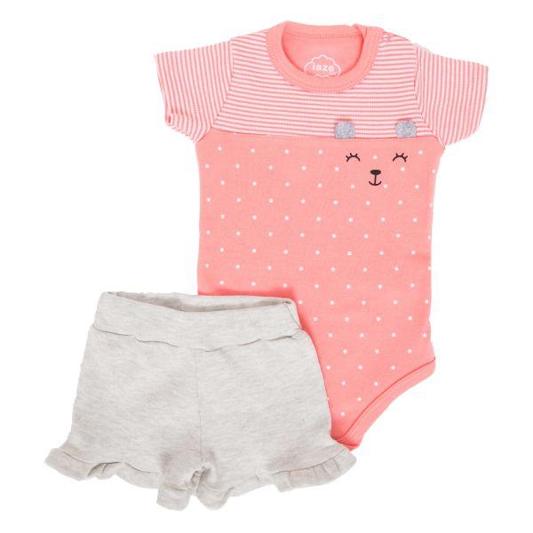 Conjunto Infantil Body Poá e Short