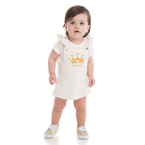 CONJUNTO BODY MANGA CURTA E SALOPETE PRINCESS