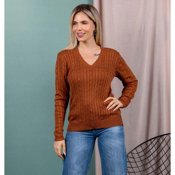 Suéter Tricot Trançado Gola V